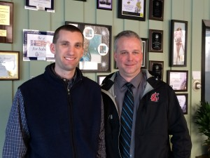 MusicMaster client MacDonald Broadcasting Operations Manager Scott Loomise with Aaron Taylor from MusicMaster on a visit to their facility in Lansing, Michigan March 11